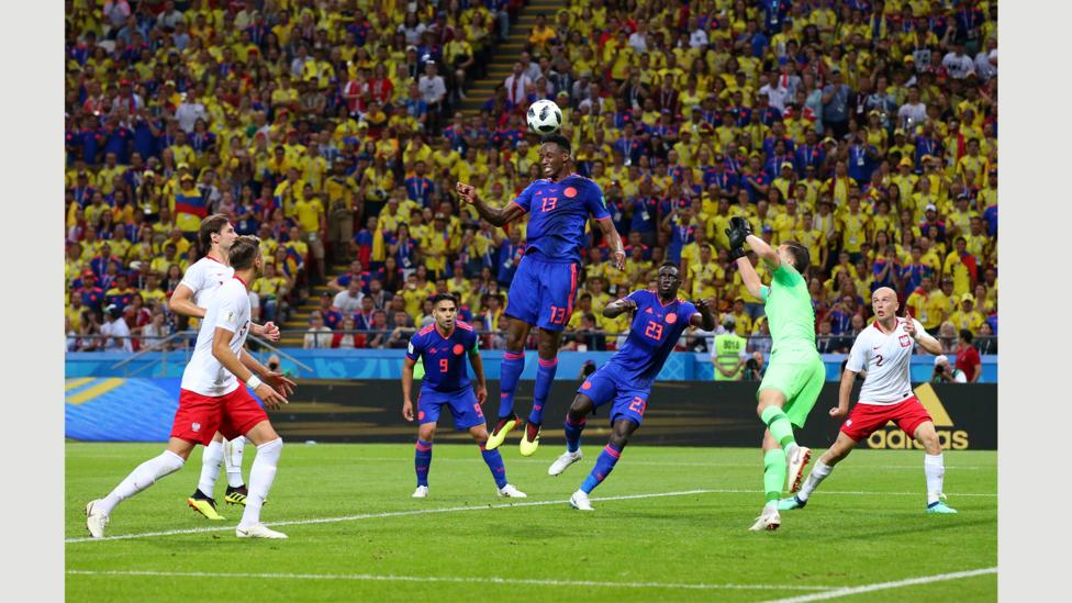 Yerry Mina of Colombia scores his team's first goal of the World Cup 2018 at Kazan Arena on 24 June (Credit: Getty Images)