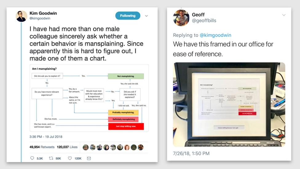 Goodwin's viral Tweet (left) left such an impression, some people even printed it out for reference (Credit: Twitter/Kim Goodwin; Twitter/Geoff Bills)