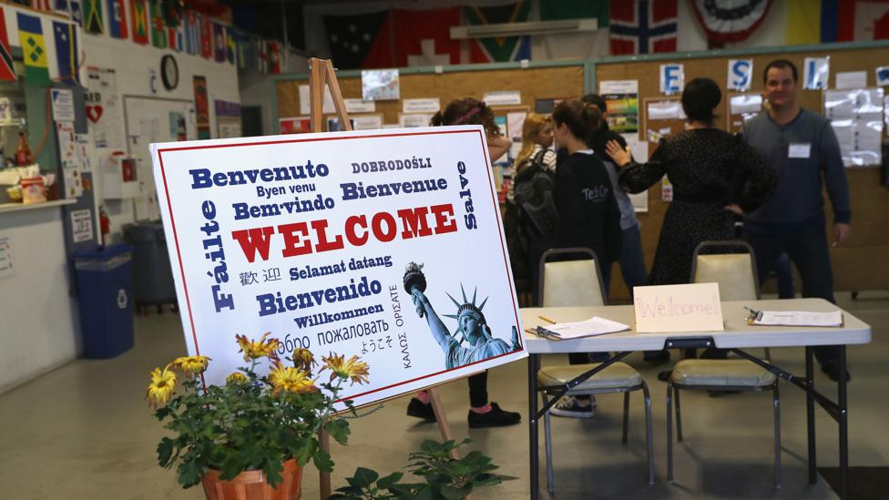 This December 2016 English class is offered by a Connecticut non-profit organisation to recently arrived immigrants to the US (Credit: Getty Images)
