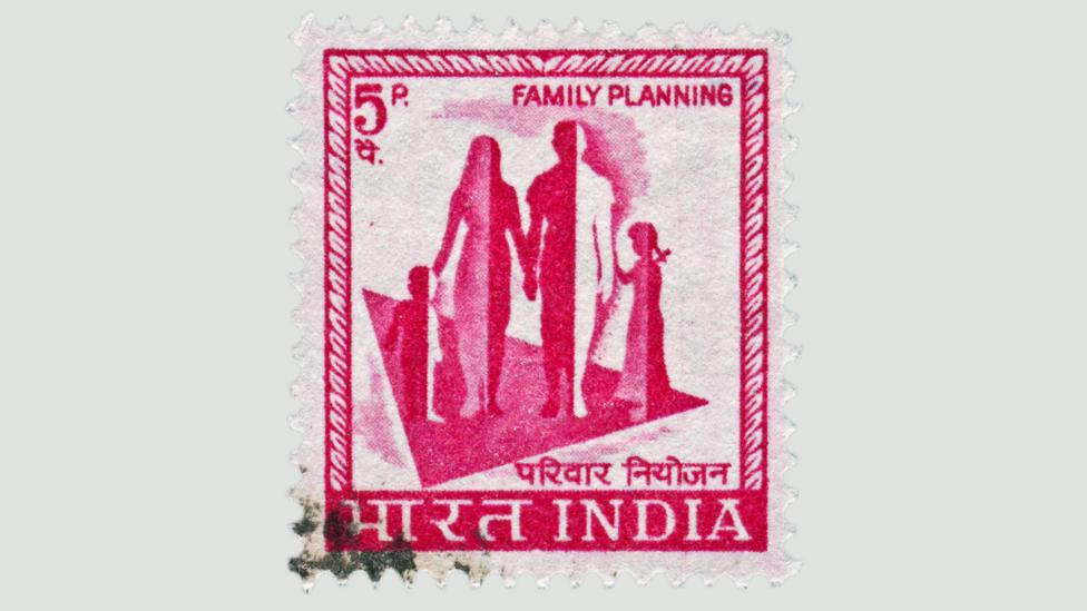 A cancelled stamp promotes support for India's family planning policies (Credit: Getty)
