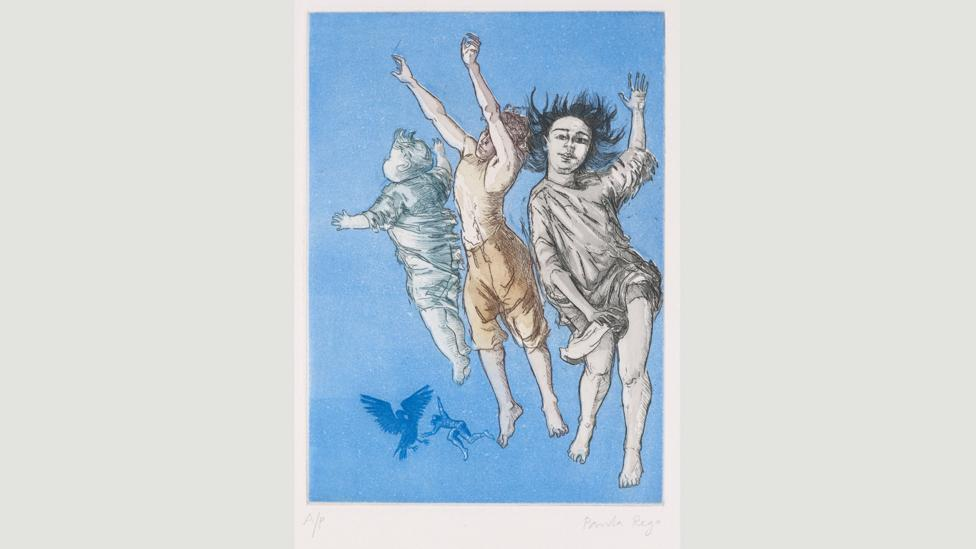 Flying Children is part of a 1992 series in which Rego created 25 etchings for JM Barrie's Peter Pan (Credit: Paula Rego, courtesy Marlborough Fine Art)