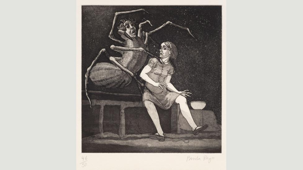 Little Miss Muffet I, 1989:Rego intertwines references like fairy tales and Lewis Carroll with autobiographical elements (Credit: Paula Rego, courtesy Marlborough Fine Art)