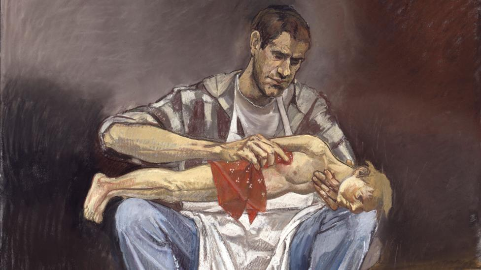 Geppetto washing Pinocchio (1996) is a disturbing tableau of intensely personal elements (Credit: Paula Rego, courtesy Marlborough Fine Art)