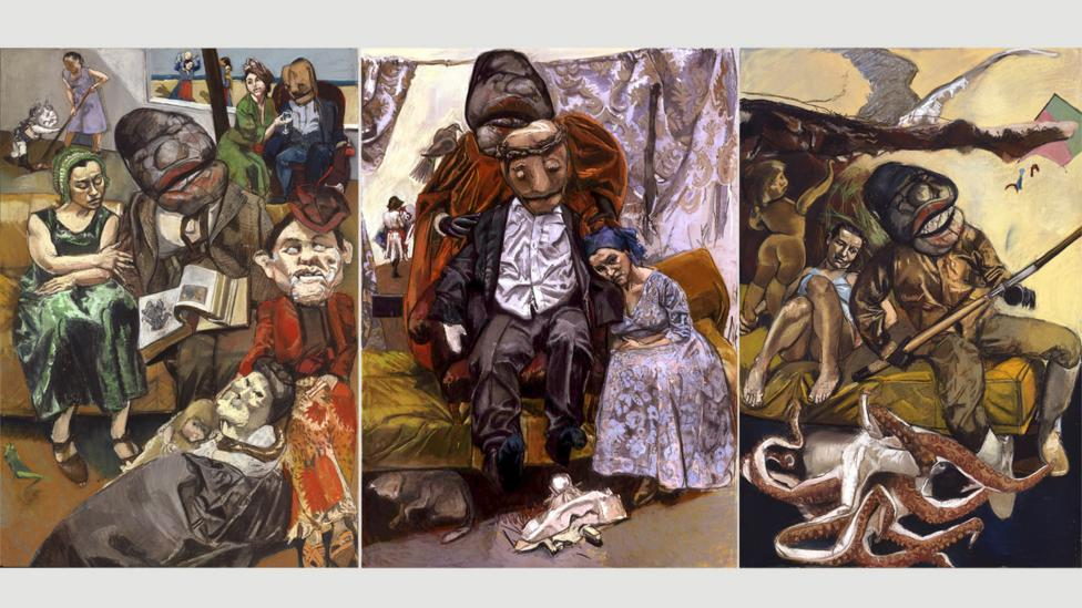 Rego stages mannequins, dolls and masks in her studio to create works like The Fisherman, triptych, 2005 (Credit: Paula Rego, courtesy Marlborough Fine Art)