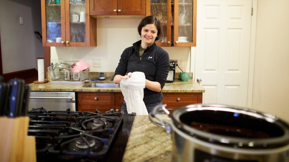 As part of her strategy to live frugally for financial independence, 28-year-old Gwen Merz spends time meal prepping so she can avoid eating out (Credit: Anna Rajdl)