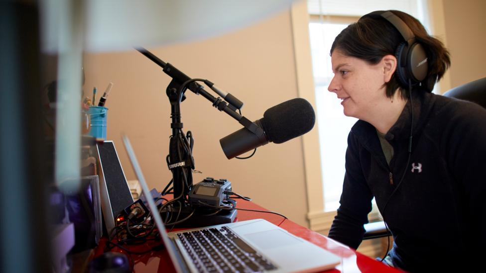 From her home in Minnesota 28-year-old Gwen Merz hosts a FIRE movement podcast, Firedrill, on living frugally in pursuit of early retirement (Credit: Anna Rajdl)