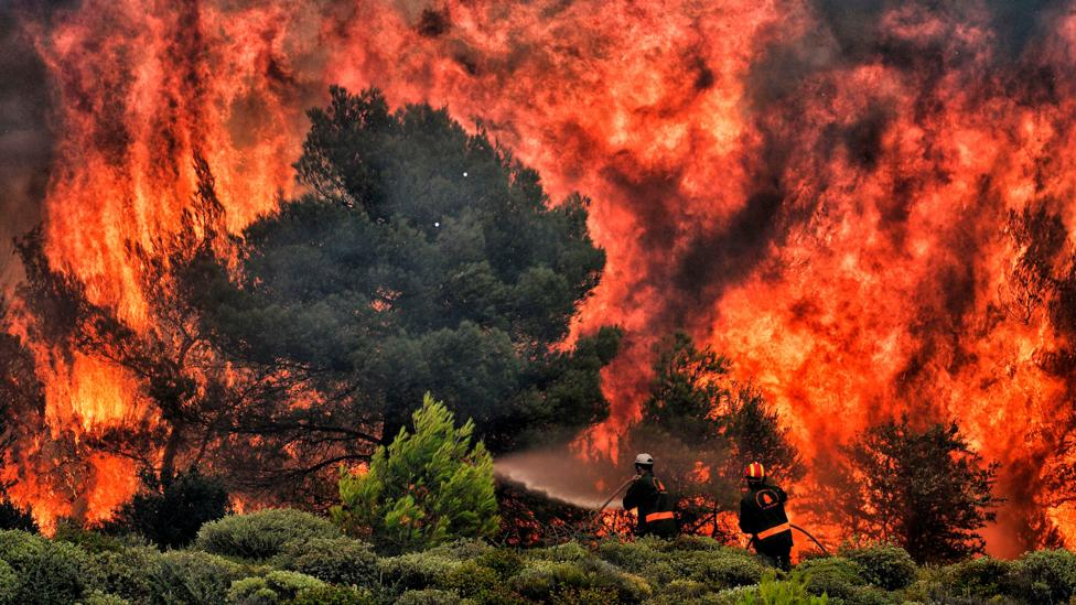 Firefighters battle flames near Athens in July 2018, where at least 74 people were killed (Credit: Getty)
