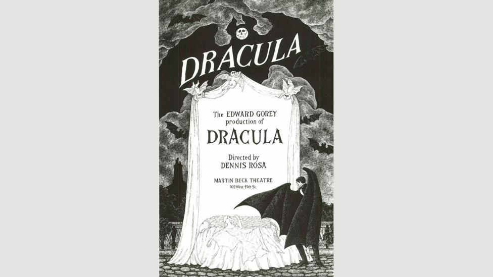 Gorey poster for the Broadway revival of Dracula, 1978 (Credit: The Edward Gorey Charitable Trust)