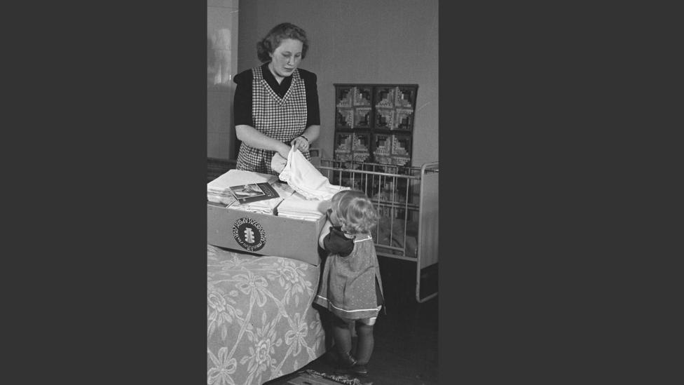 In the 1940s and 50s the box included cloth, everything was plain in colour so mothers would make and embroider the clothes to personalise them (Credit: The Finnish Labour Museum)