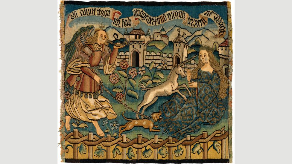 This tapestry, from the Burrell Collection in Glasgow, shows a small white unicorn leaping onto the lap of the Virgin Mary (Credit: CSG CIC Glasgow Museums Collection)