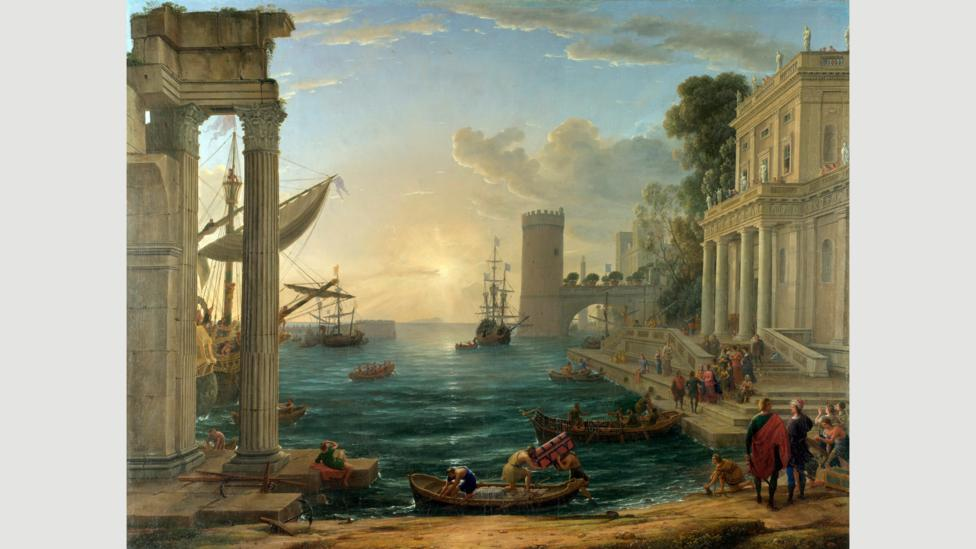 In the 1648 painting Seaport with the Embarkation of the Queen of Sheba by Claude Lorrain, the figure of the Ethiopian queen is white-skinned (Credit: Getty Images)