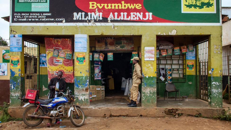 Today, most phosphorus in agriculture comes from mineral fertilisers, sold in shops like this one near Blantyre (Credit: Sibylle Grunze)
