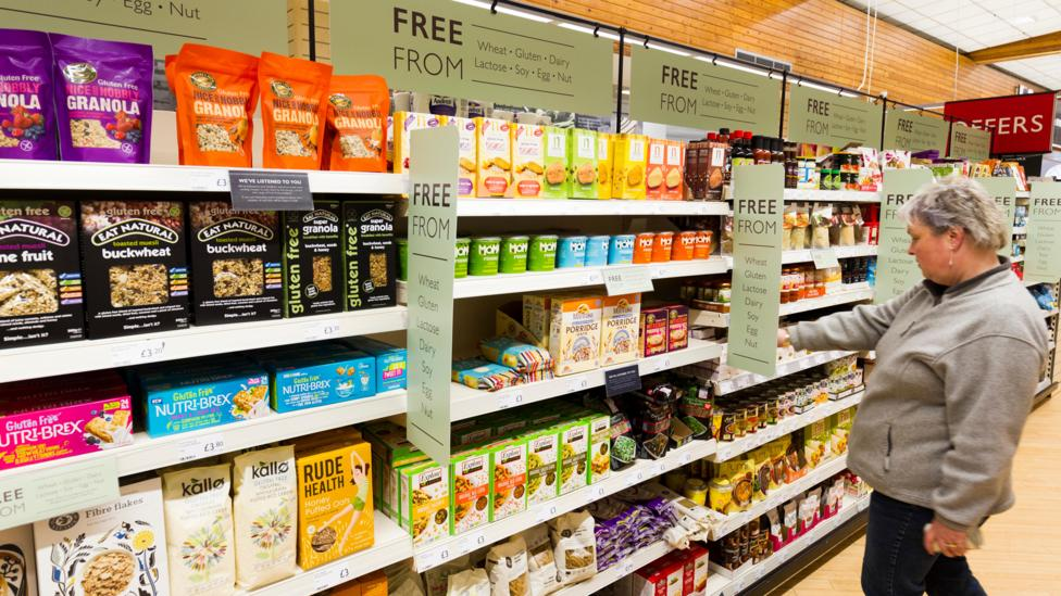 Growing awareness of food allergies has led to greater choice for those who eat 'free from', which includes entire sections in many shops (Credit: Alamy)