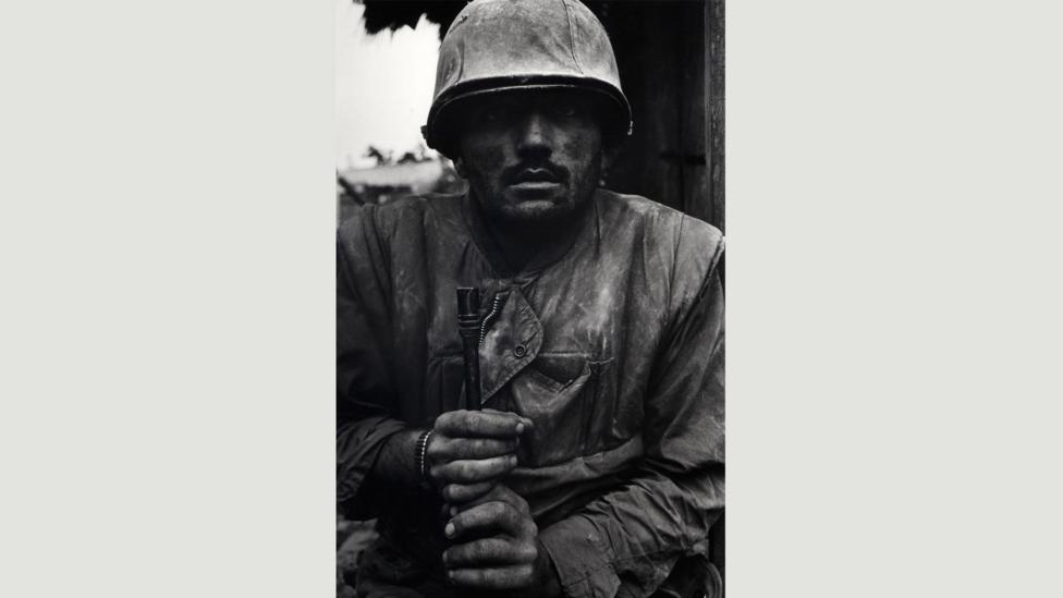 Shell-shocked US marine, the Battle of Huế, 1968: McCullin took several frames of this man and says that the soldier didn't blink once (Credit: Don McCullin/Tate)
