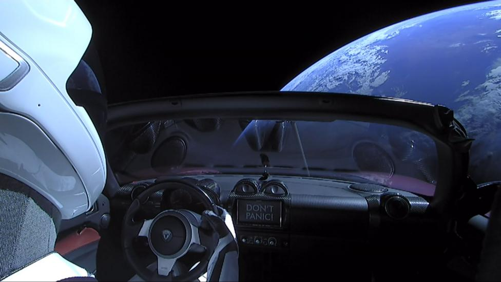Elon Musk etched Isaac Asimov sci-fi novels in glass in the glove compartment of the Tesla car launched with the Space X Falcon Heavy rocket (Credit: Getty Images)