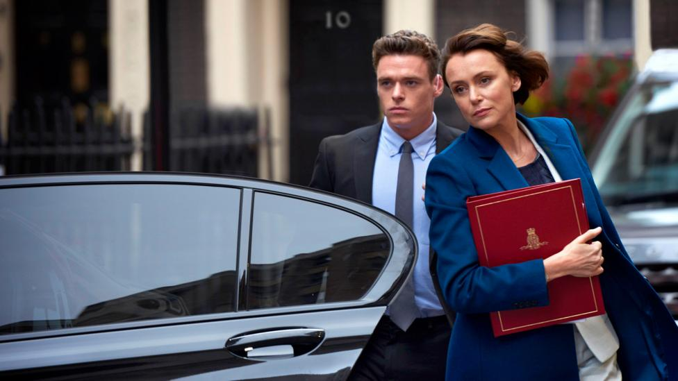 Headlines lingered on the naked body of Richard Madden in The Bodyguard's explicit sex scenes with Keeley Hawes (Credit: BBC)
