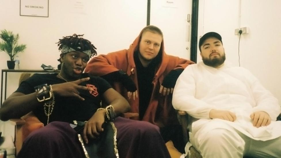 Ermakov with KSI and another YouTuber, Randolph, on set for a music video shoot (Credit: Konstantin Ermakov)