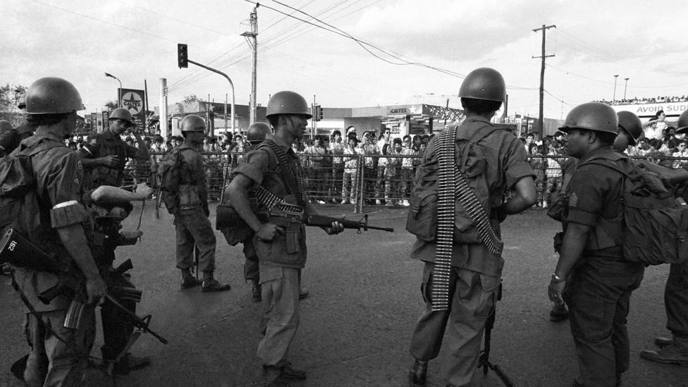 Having attracted millions of supporters, the People Power demonstrations removed the Marcos regime in the Phillipines (Credit: Getty Images)
