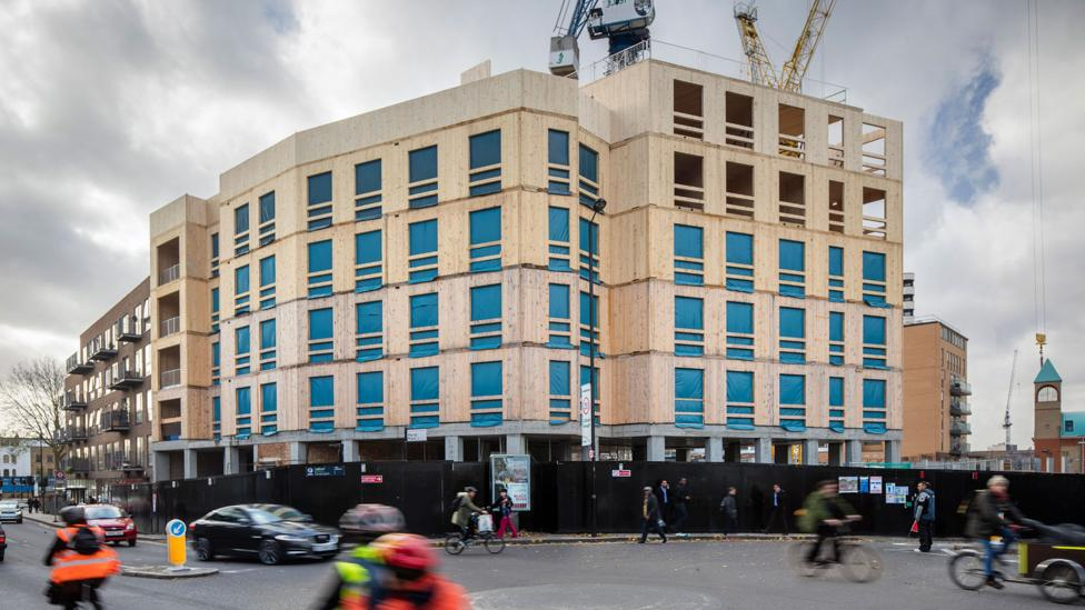 Waugh designed this 10-storey development in Dalston, London. The CLT structure weighs just one fifth of an equivalent concrete building (Credit: Daniel Shearing)