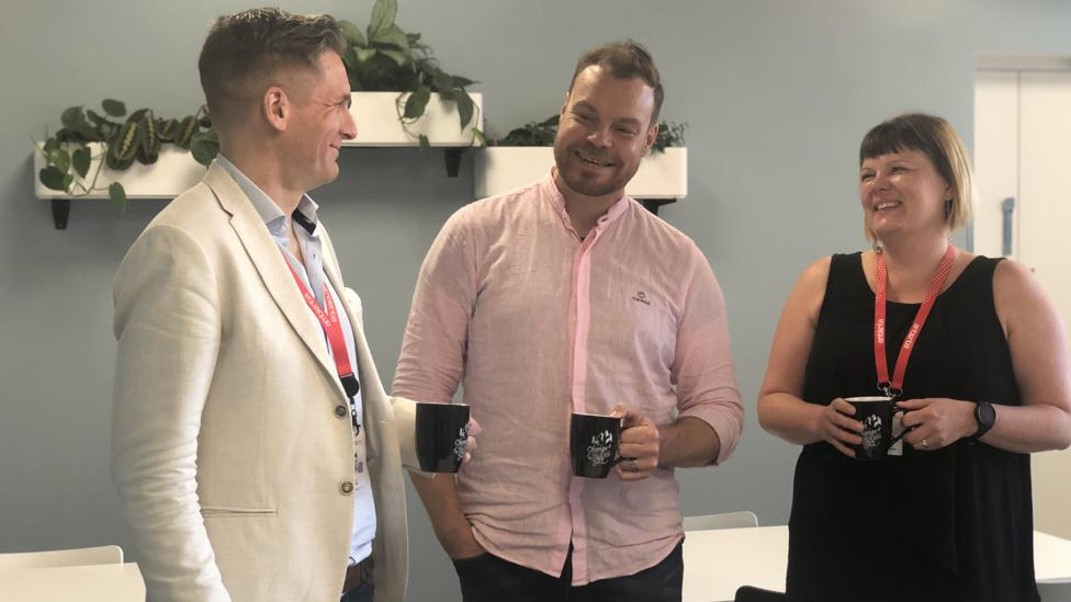 Despite being 2,000 miles and one timezone away from Helsinki, Miika Härkönen (centre) says working from the Spanish town of Malaga made him more productive (Credit: Maddy Savage)