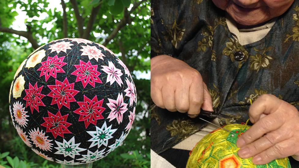 a split image of a large temari ball and an elderly Japanese lady working on a temari