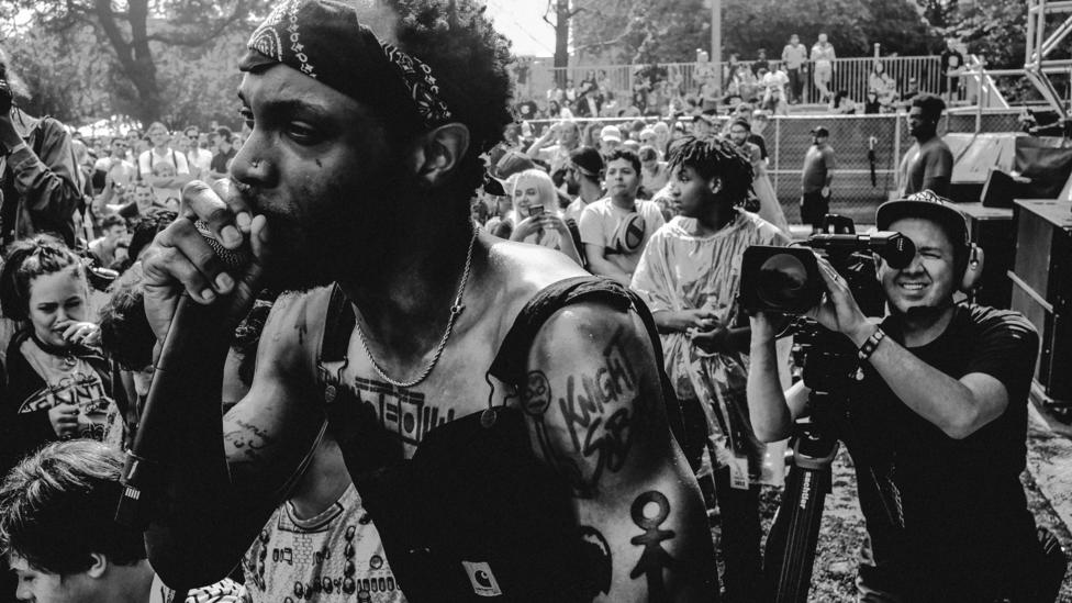 JPEGMAFIA is a scathingly satirical artist with a sound that incorporates thick waves of distortion and screaming synths (Credit: David Hanes-Gonzales)