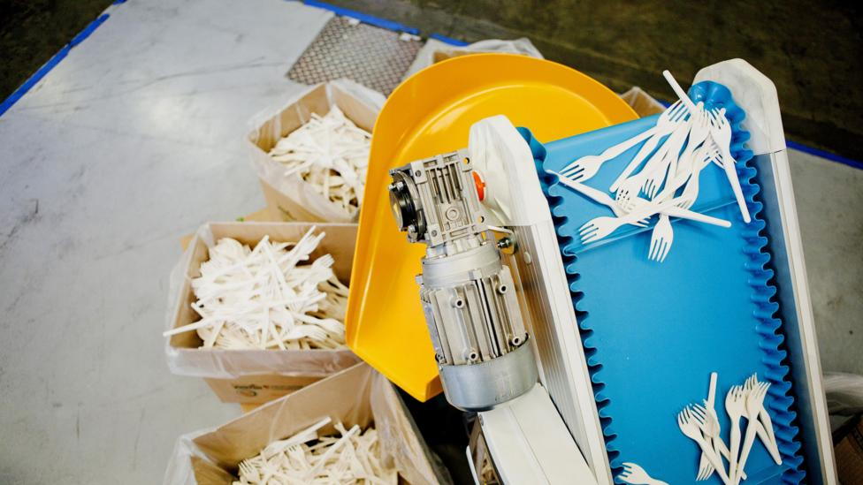 Bioplastic cutlery on the production line (Credit: Getty Images)