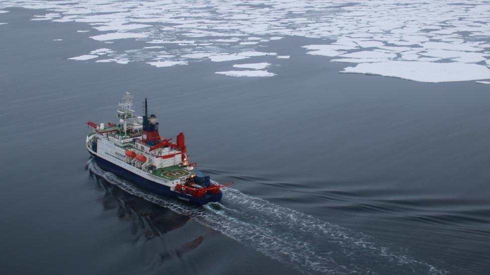 After a week at sea, Polarstern reaches the edge of the Arctic sea ice, and the waves die away to nothing (Credit: Martha Henriques)