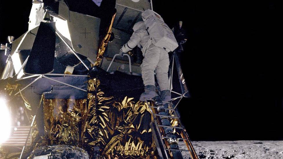 Alan Bean on lander steps (Credit: Nasa)