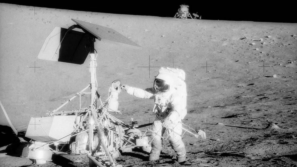 Apollo 12 astronaut on surface (Credit: Nasa)