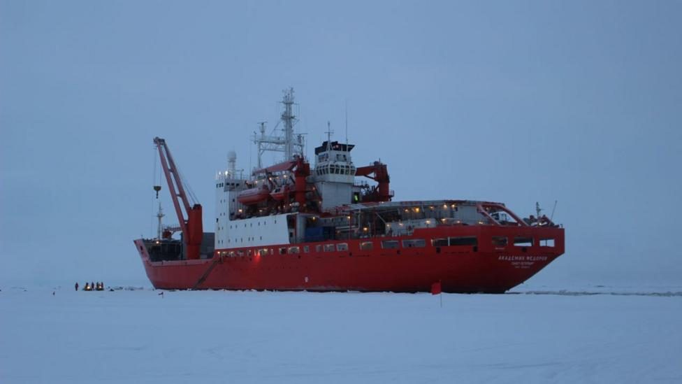 Russian supply ship Akademik Fedorov, in the ice (Credit: Martha Henriques)