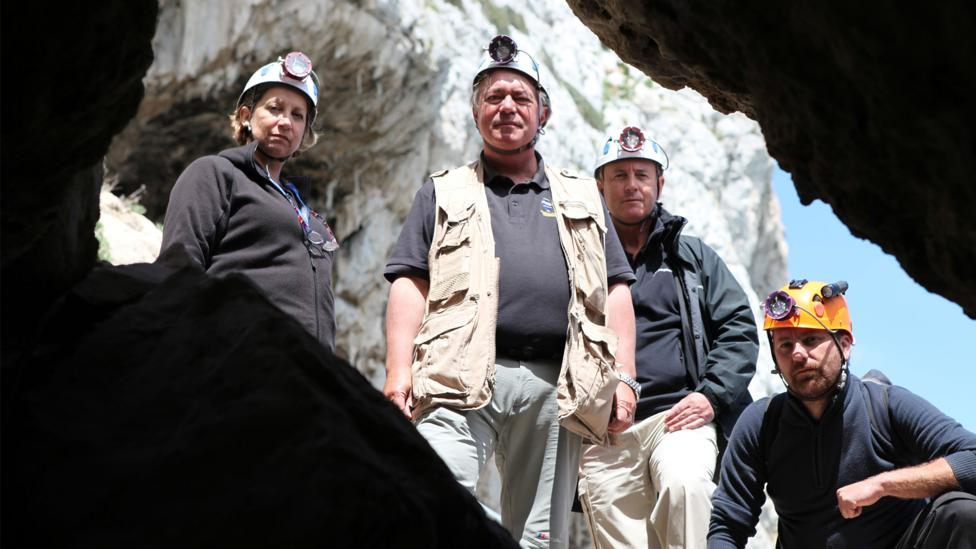 Finlayson and colleagues who are excavating Gorham's Cave (Credit: BBC)