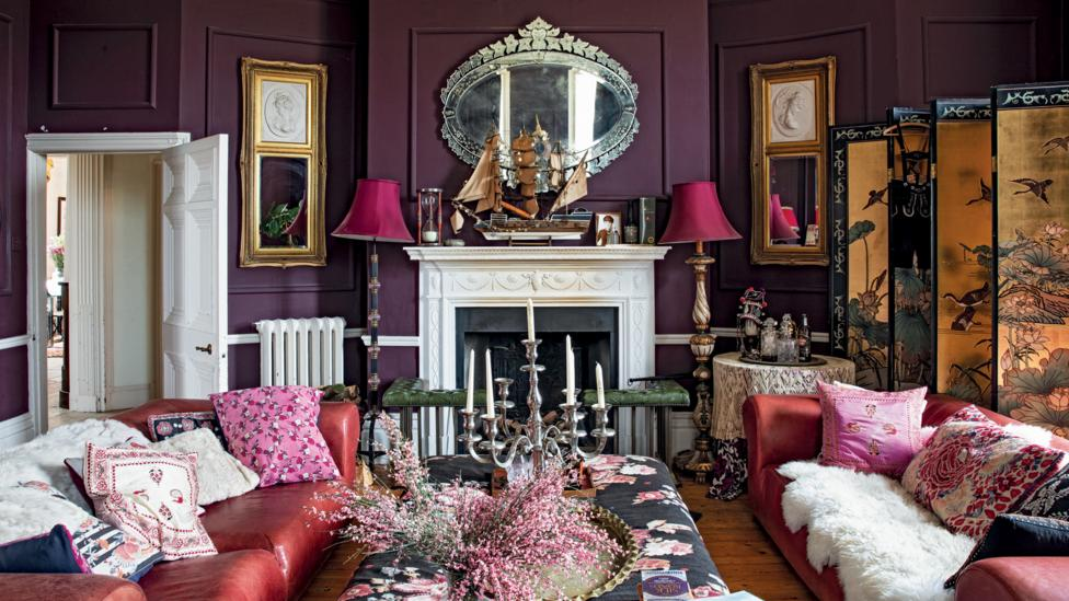The living room of fashion designer Alice Temperley's home reflects her playful aesthetic