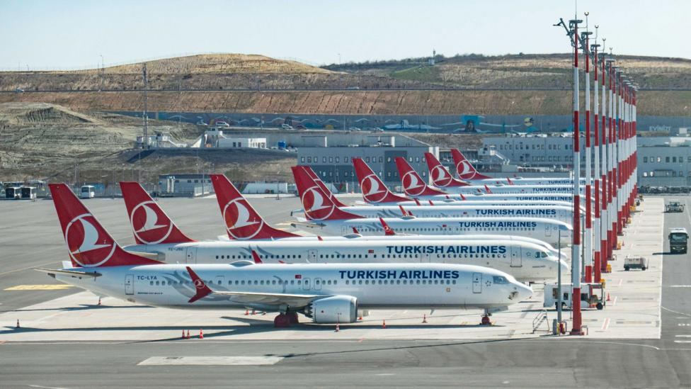 Grounded planes line the tarmac at Istanbul Airport (Credit: Getty Images)