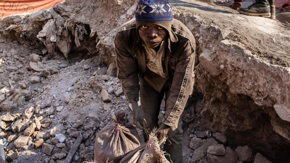 Mining for metals like cobalt from the ground is a dangerous and dirty job, often in countries far away from the electrical devices it is used in are bought (Credit: Getty Images)