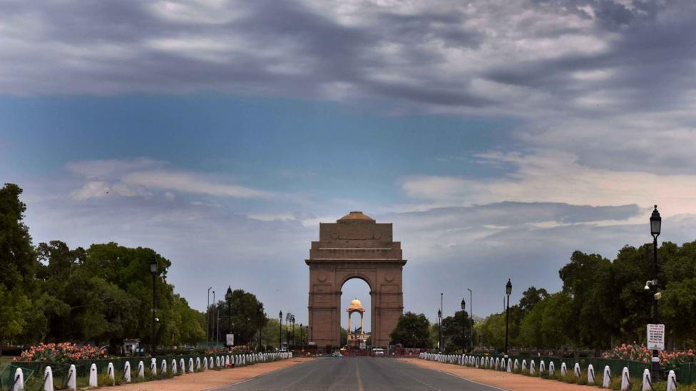 Coronavirus lockdown has transformed cityscapes with a rarely seen blue backdrop, including that shown here in Delhi (Credit: Getty Images)