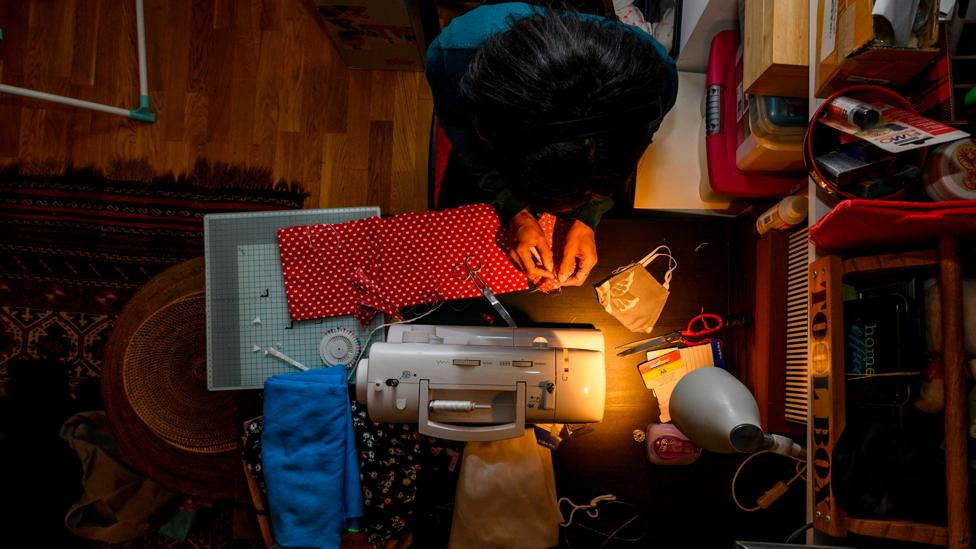 With a shortage of face masks, many people are turning to their sewing machines to make their own (Credit: Getty Images)