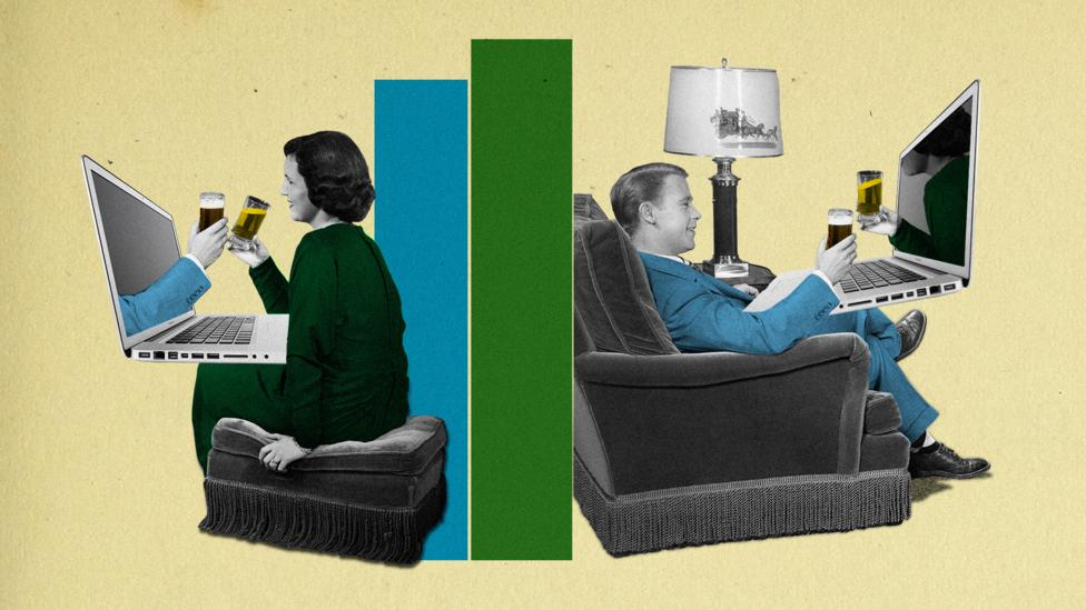 With their usual social lives disrupted, many people are joining others online to enjoy a drink in their own homes (Credit: Getty Images/Javier Hirschfeld)