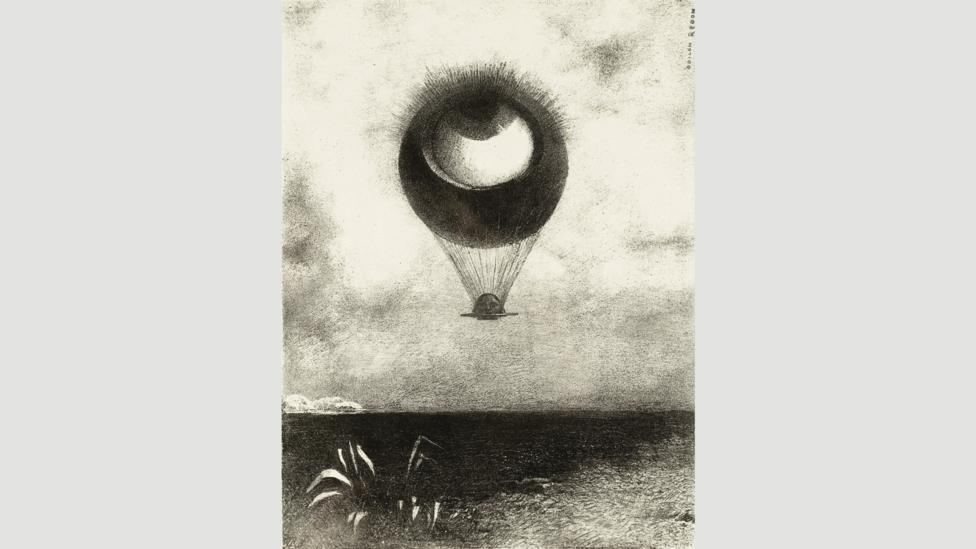 The Eye, like a Strange Balloon, Mounts toward Infinity (1882) by Redon made an impact on the Surrealists