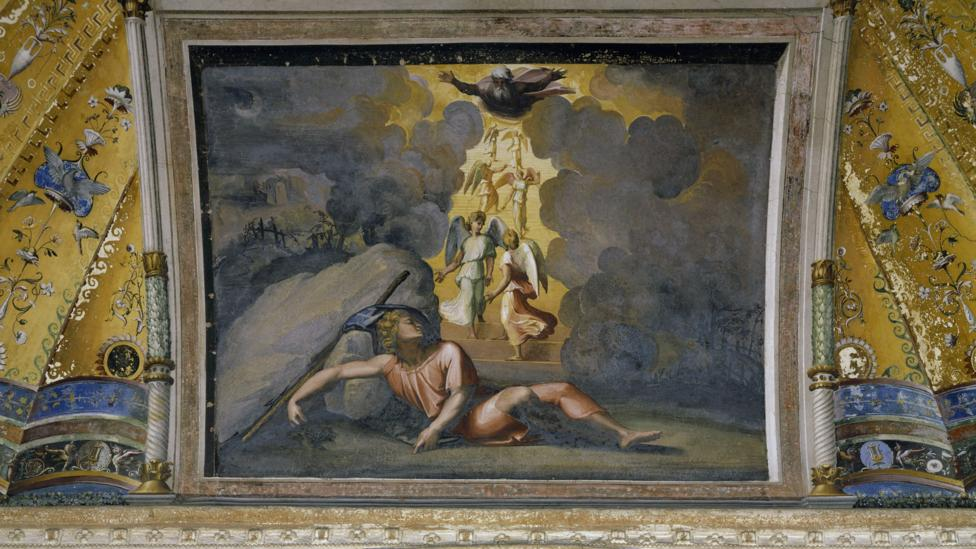 Renaissance artists favoured biblical stories such as Jacob's Dream, painted for a ceiling in the Vatican's Palazzo Apostolico by Raphael in 1518