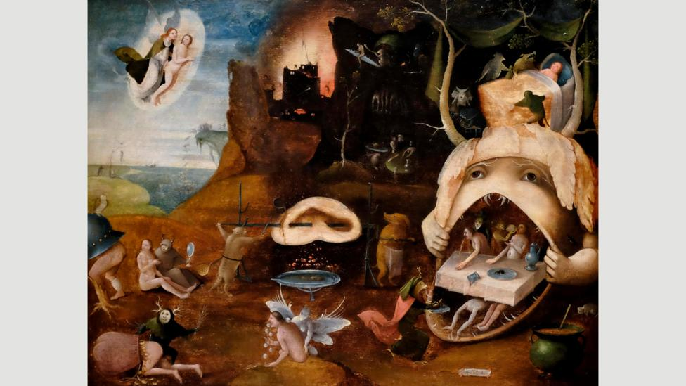 Grotesque depictions of heaven and hell were painted by Bosch and his followers – one of whom created The Vision of Tundale (c 1520-30)