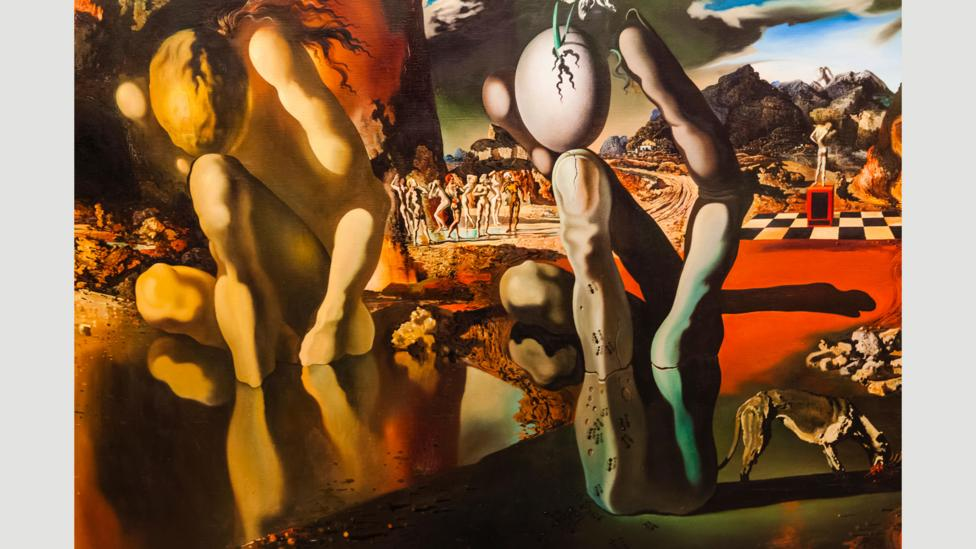 Surrealist dream paintings, such as Metamorphosis of Narcissus (1937) by Salvador Dalí, depict the inner workings of a dream